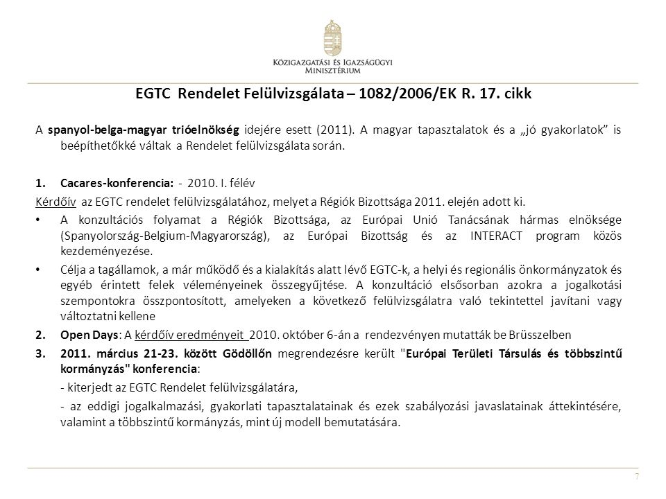 EGTC Rendelet Felülvizsgálata – 1082/2006/EK R. 17. cikk