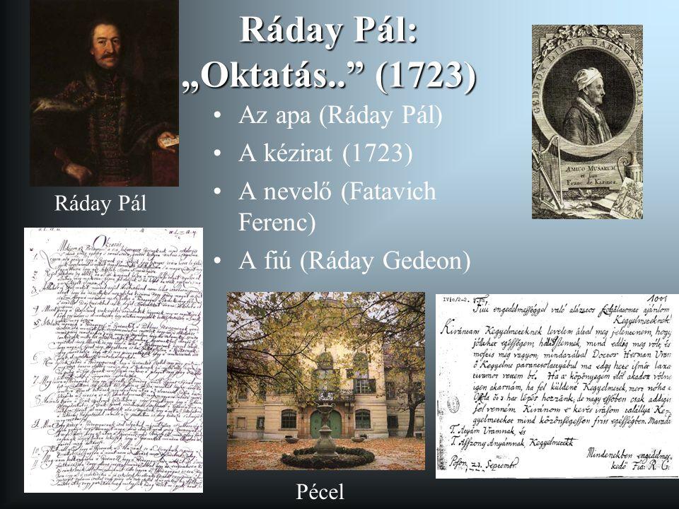 """Ráday Pál: """"Oktatás.. (1723)"""