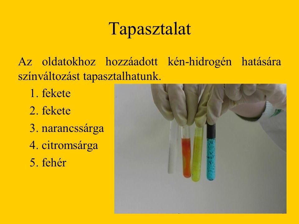Tapasztalat Az oldatokhoz hozzáadott kén-hidrogén hatására színváltozást tapasztalhatunk. 1. fekete.