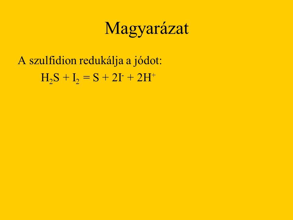 Magyarázat A szulfidion redukálja a jódot: H2S + I2 = S + 2I- + 2H+