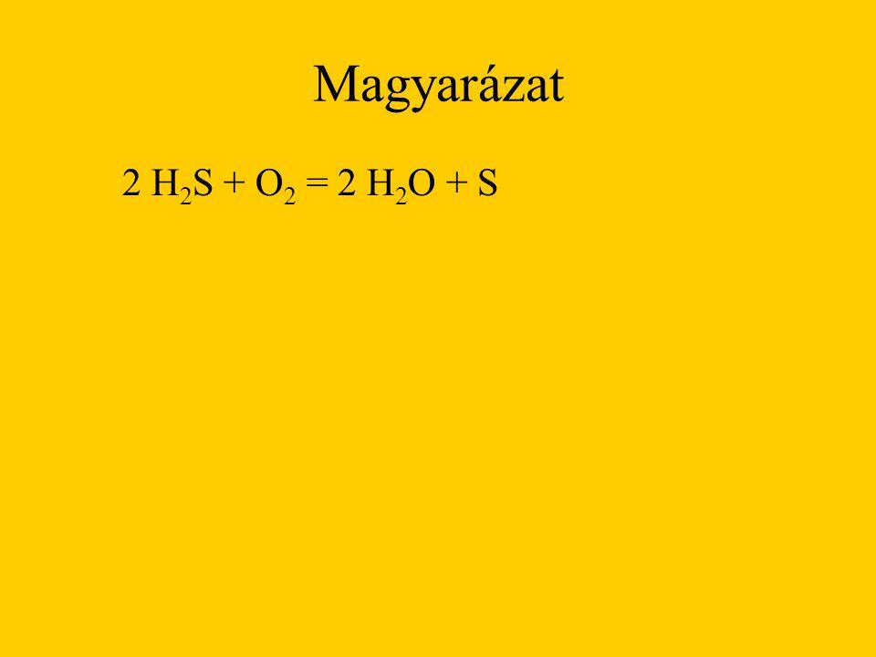 Magyarázat 2 H2S + O2 = 2 H2O + S
