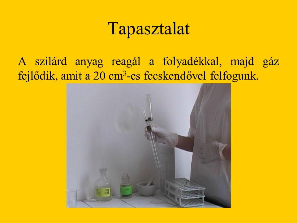 Tapasztalat A szilárd anyag reagál a folyadékkal, majd gáz fejlődik, amit a 20 cm3-es fecskendővel felfogunk.