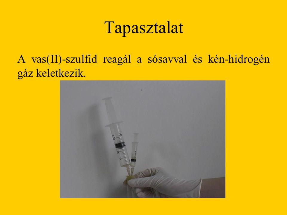 Tapasztalat A vas(II)-szulfid reagál a sósavval és kén-hidrogén gáz keletkezik.