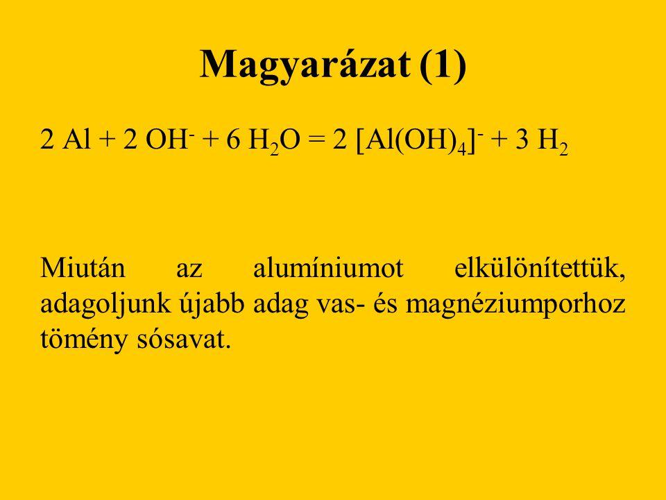 Magyarázat (1) 2 Al + 2 OH- + 6 H2O = 2 Al(OH)4- + 3 H2