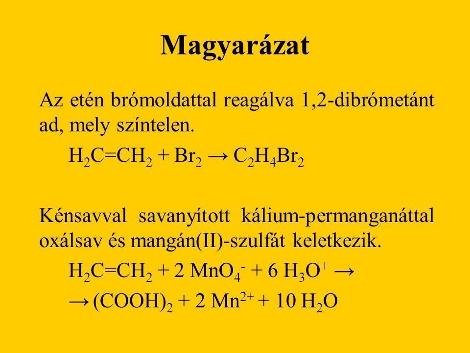 Magyarázat Az etén brómoldattal reagálva 1,2-dibrómetánt ad, mely színtelen. H2C=CH2 + Br2 → C2H4Br2.