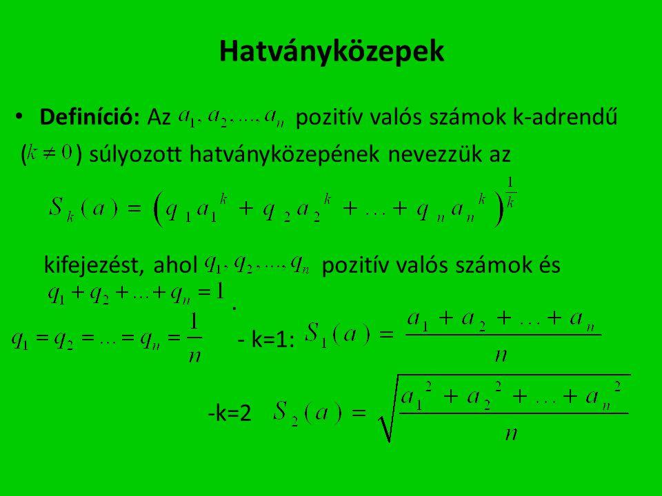 Hatványközepek Definíció: Az pozitív valós számok k-adrendű
