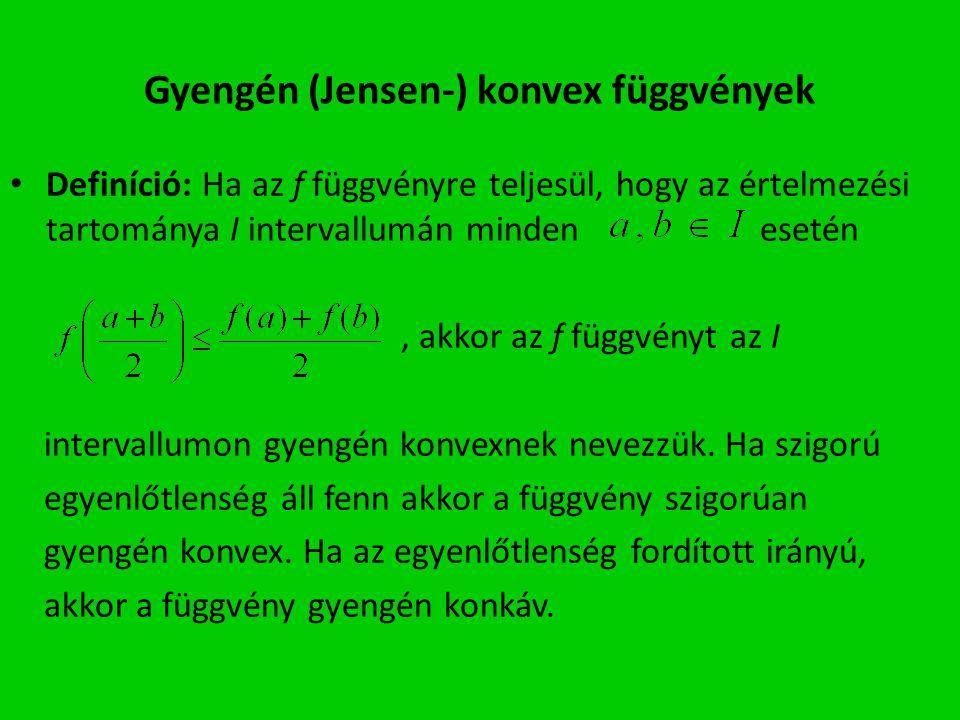 Gyengén (Jensen-) konvex függvények