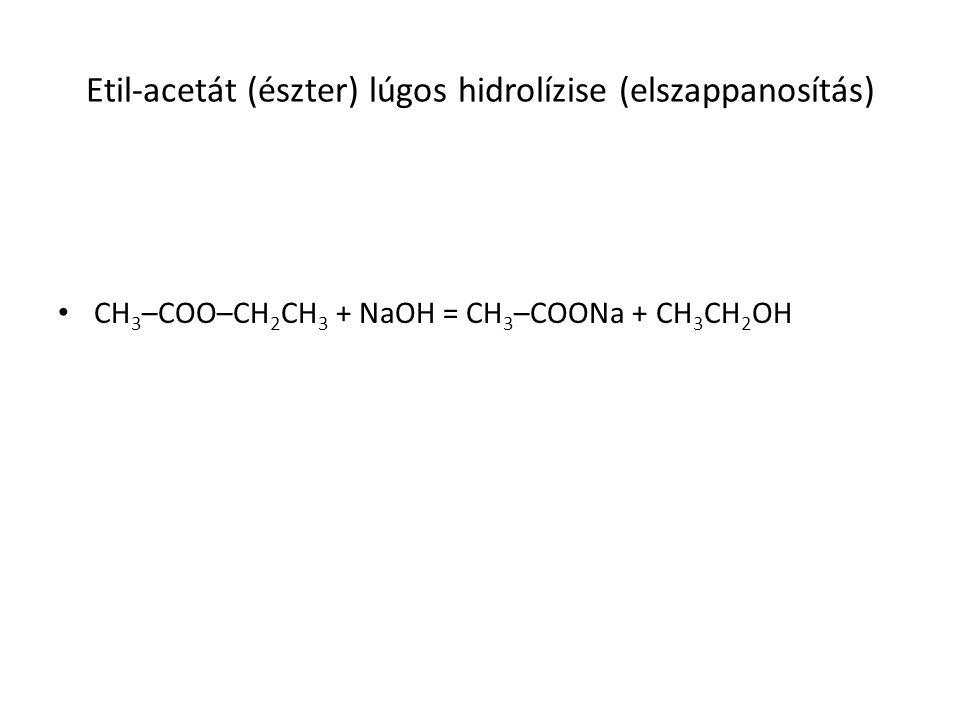 Etil-acetát (észter) lúgos hidrolízise (elszappanosítás)