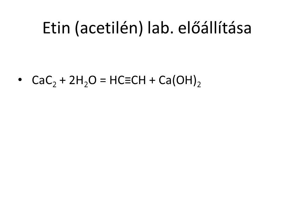 Etin (acetilén) lab. előállítása