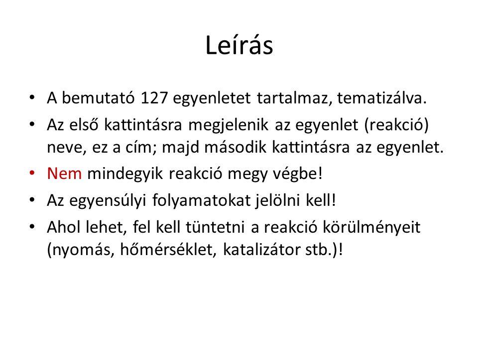 Leírás A bemutató 127 egyenletet tartalmaz, tematizálva.