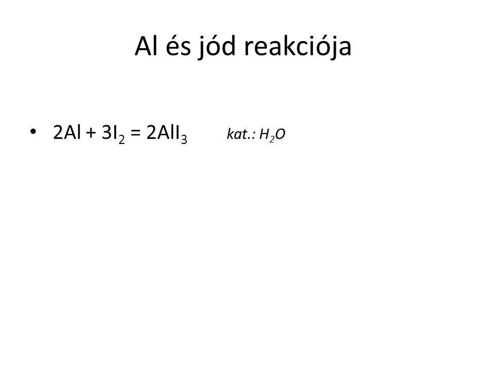 Al és jód reakciója 2Al + 3I2 = 2AlI3 kat.: H2O
