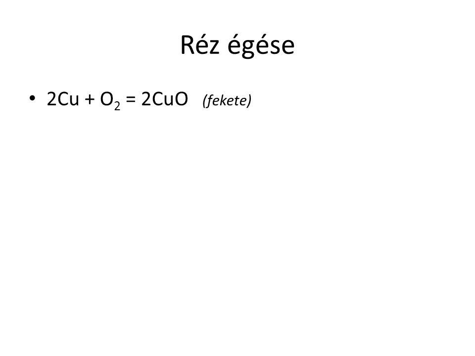 Réz égése 2Cu + O2 = 2CuO (fekete)