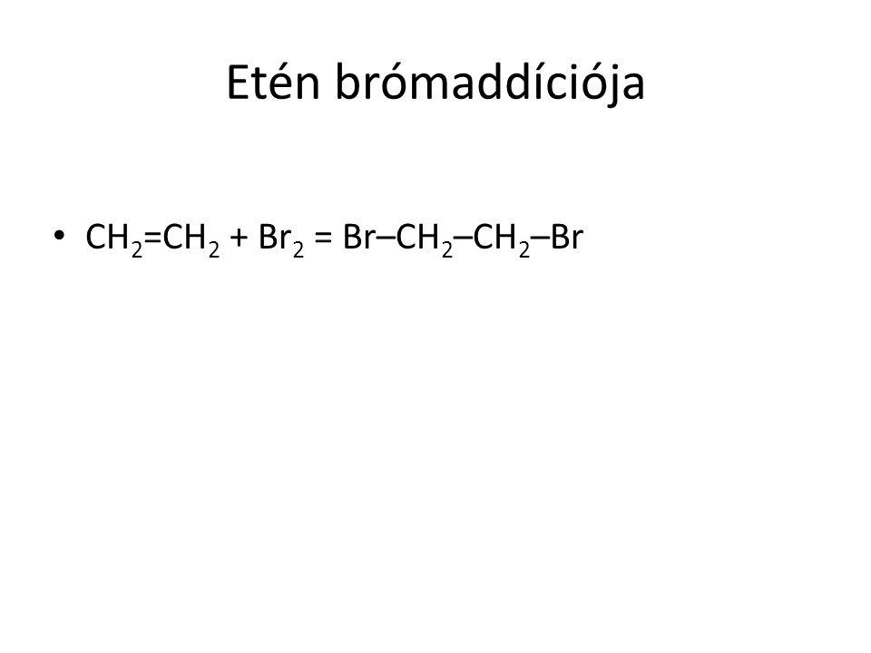 Etén brómaddíciója CH2=CH2 + Br2 = Br–CH2–CH2–Br