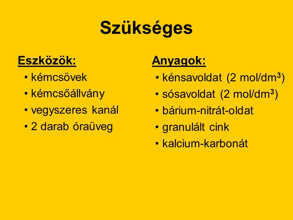 Szükséges Eszközök: Anyagok: • kénsavoldat (2 mol/dm3) • kémcsövek