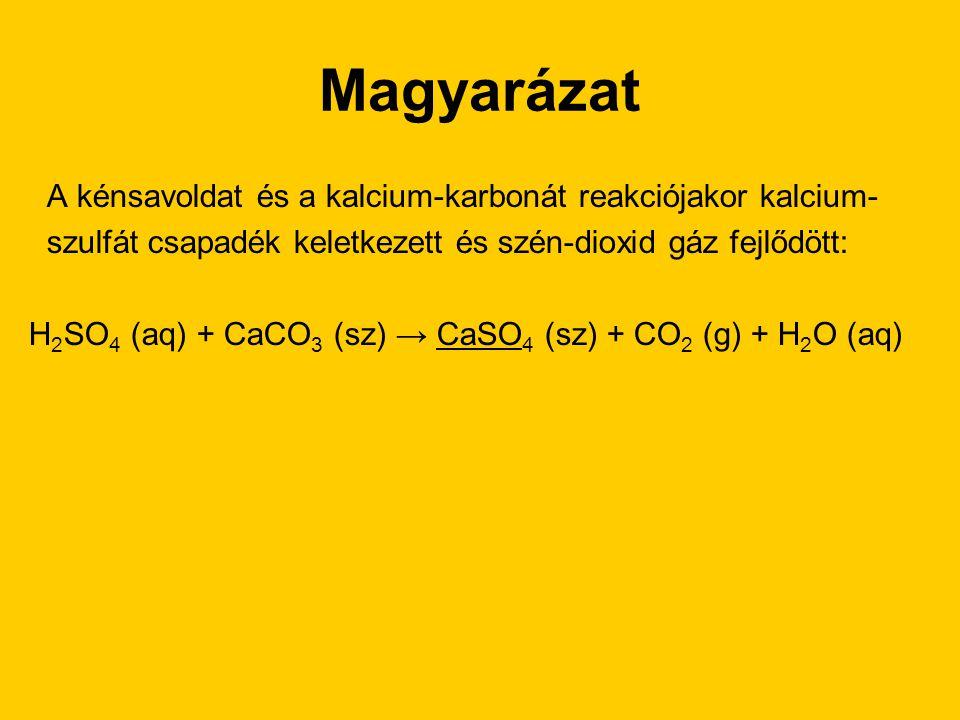 Magyarázat A kénsavoldat és a kalcium-karbonát reakciójakor kalcium-