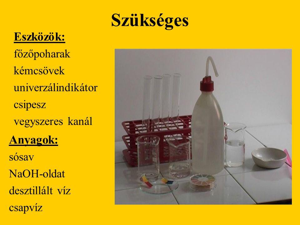 Szükséges Eszközök: Anyagok: főzőpoharak kémcsövek univerzálindikátor