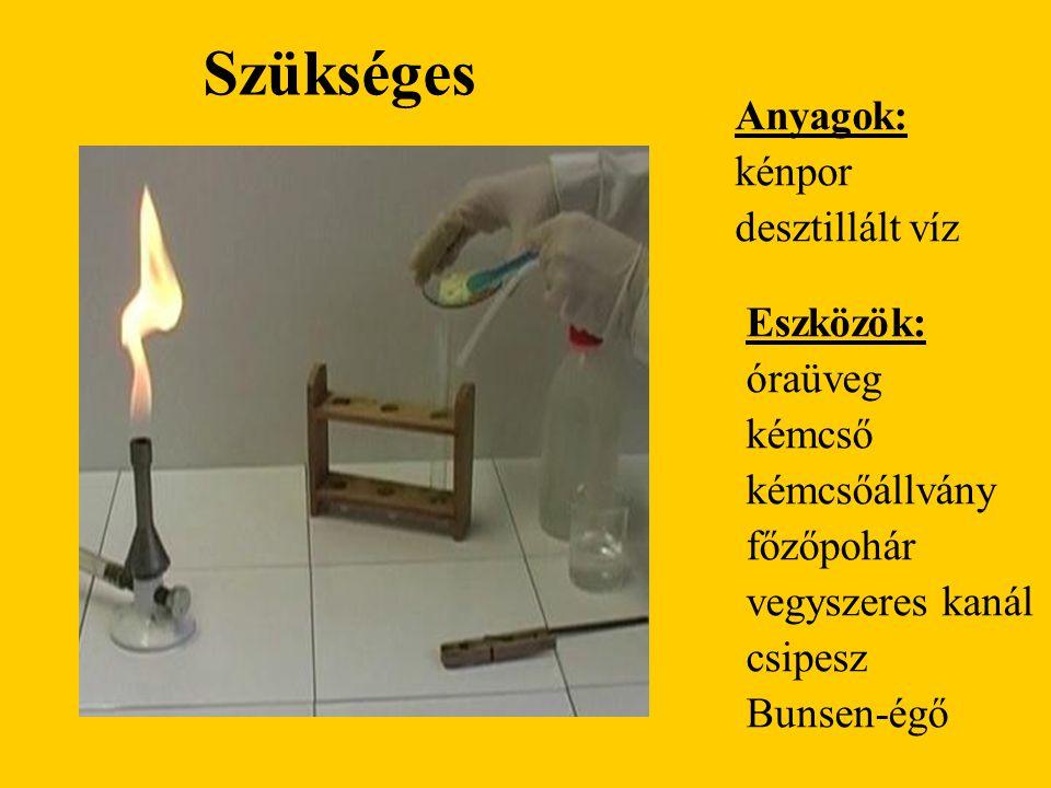 Szükséges Anyagok: kénpor desztillált víz Eszközök: óraüveg kémcső