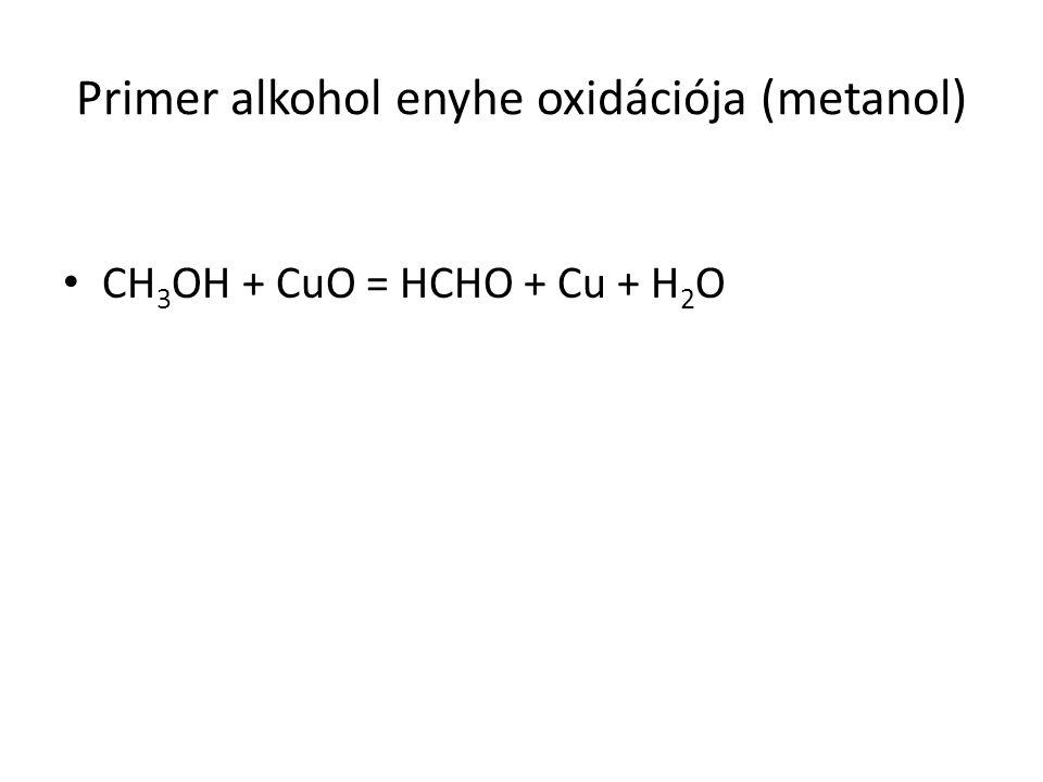 Primer alkohol enyhe oxidációja (metanol)
