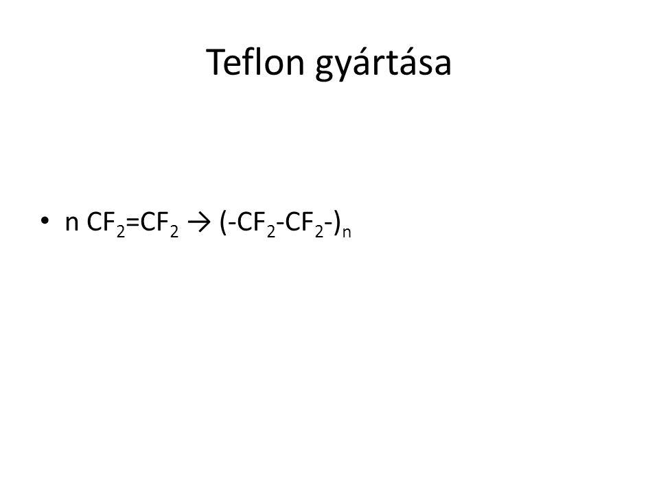 Teflon gyártása n CF2=CF2 → (-CF2-CF2-)n