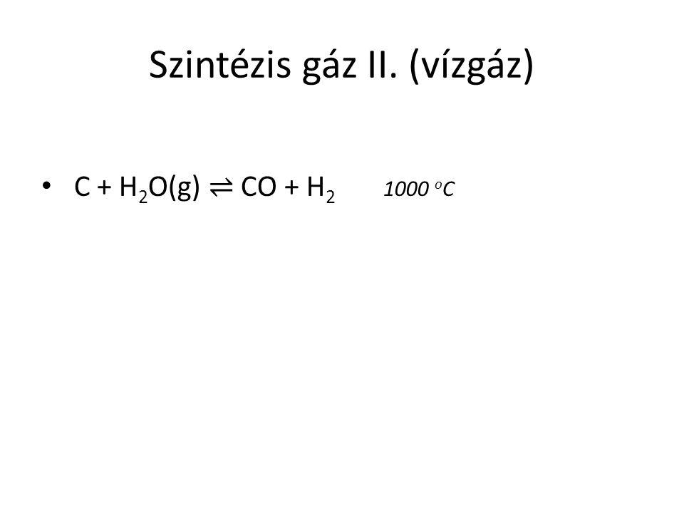 Szintézis gáz II. (vízgáz)