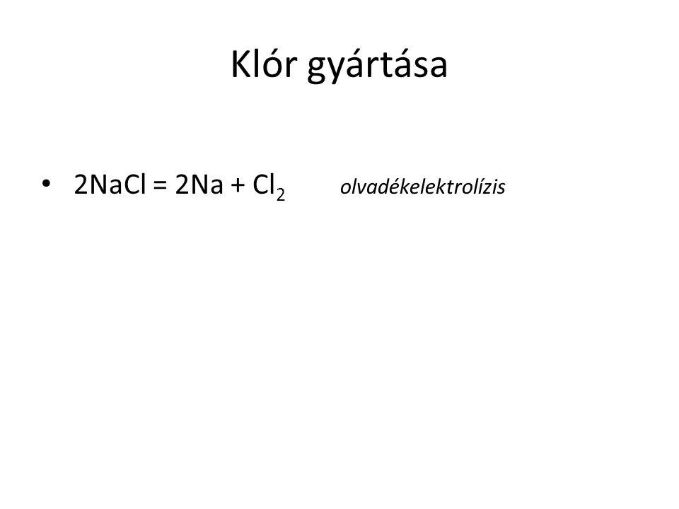 Klór gyártása 2NaCl = 2Na + Cl2 olvadékelektrolízis