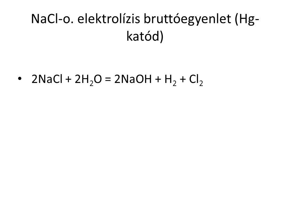 NaCl-o. elektrolízis bruttóegyenlet (Hg-katód)