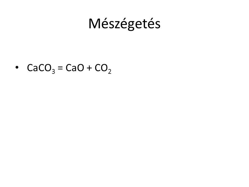 Mészégetés CaCO3 = CaO + CO2