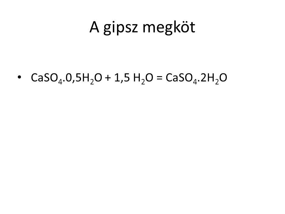 A gipsz megköt CaSO4.0,5H2O + 1,5 H2O = CaSO4.2H2O