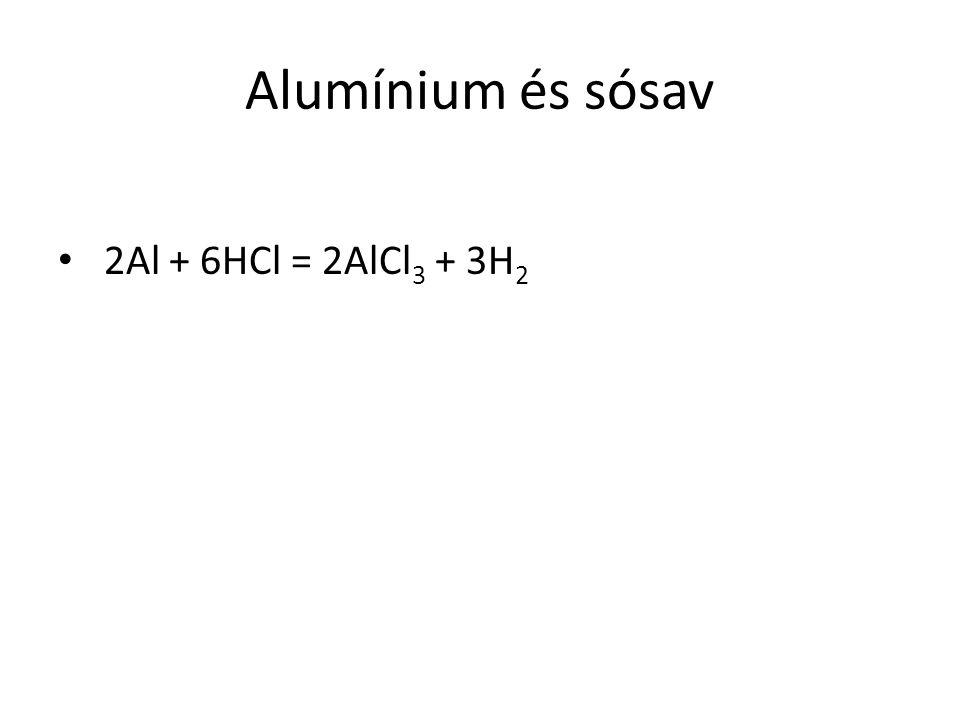Alumínium és sósav 2Al + 6HCl = 2AlCl3 + 3H2