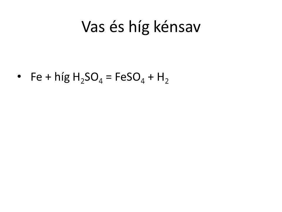 Vas és híg kénsav Fe + híg H2SO4 = FeSO4 + H2