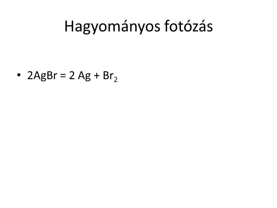 Hagyományos fotózás 2AgBr = 2 Ag + Br2