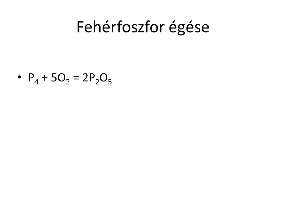 Fehérfoszfor égése P4 + 5O2 = 2P2O5