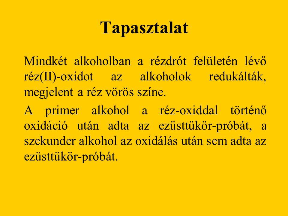 Tapasztalat Mindkét alkoholban a rézdrót felületén lévő réz(II)-oxidot az alkoholok redukálták, megjelent a réz vörös színe.
