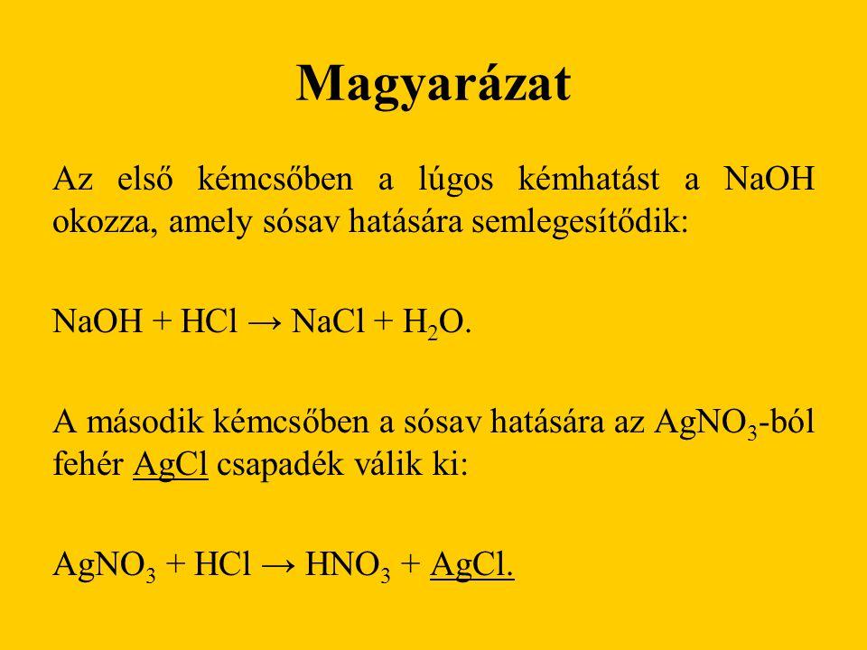 Magyarázat Az első kémcsőben a lúgos kémhatást a NaOH okozza, amely sósav hatására semlegesítődik: NaOH + HCl → NaCl + H2O.