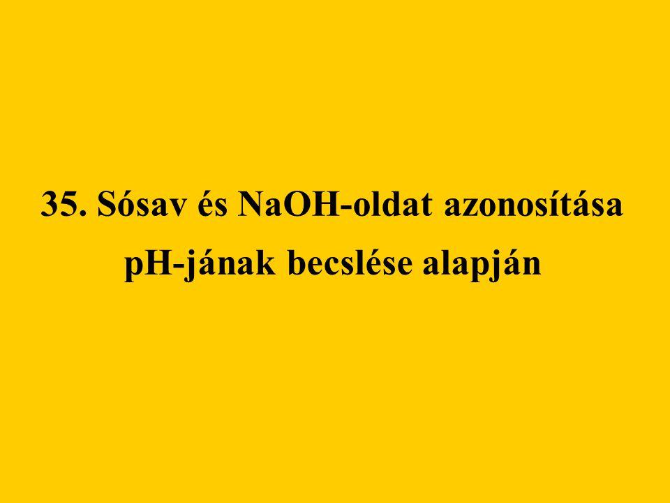 35. Sósav és NaOH-oldat azonosítása pH-jának becslése alapján