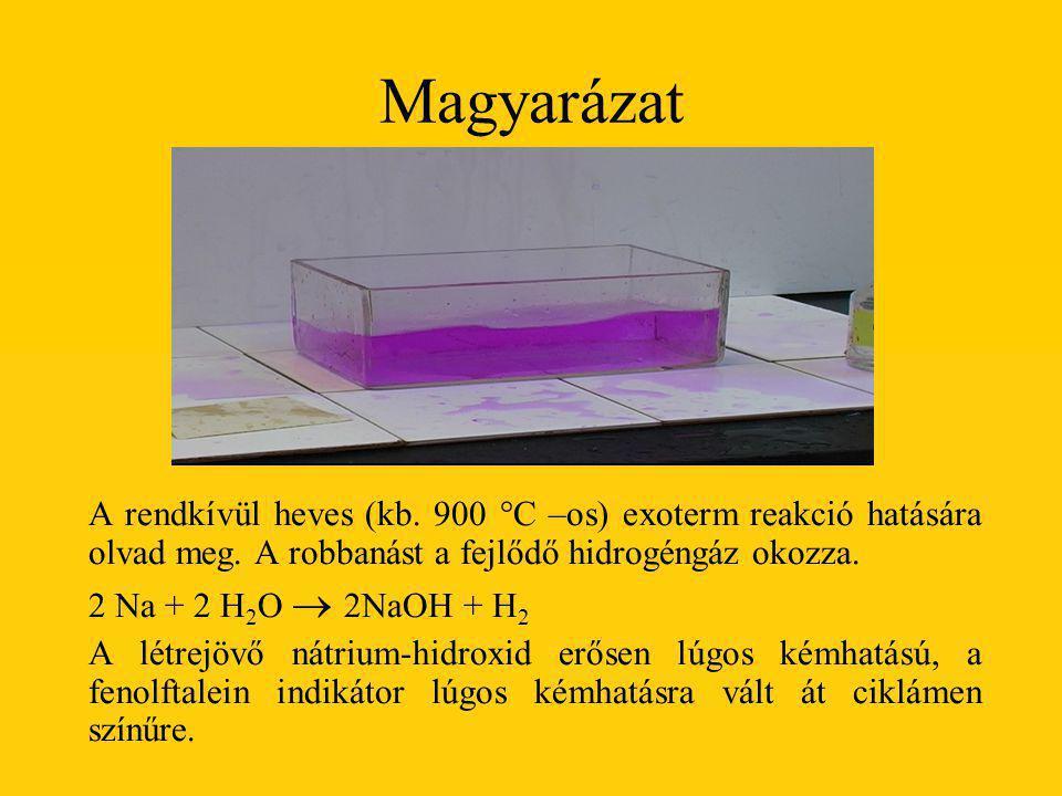 Magyarázat A rendkívül heves (kb. 900 °C –os) exoterm reakció hatására olvad meg. A robbanást a fejlődő hidrogéngáz okozza.
