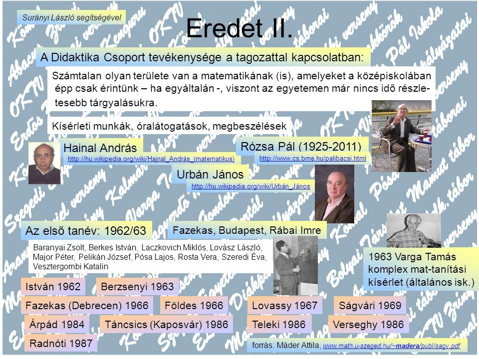 Eredet II. A Didaktika Csoport tevékenysége a tagozattal kapcsolatban: