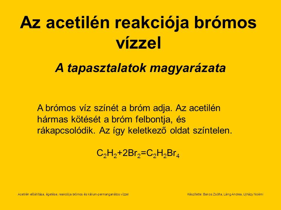 Az acetilén reakciója brómos vízzel A tapasztalatok magyarázata