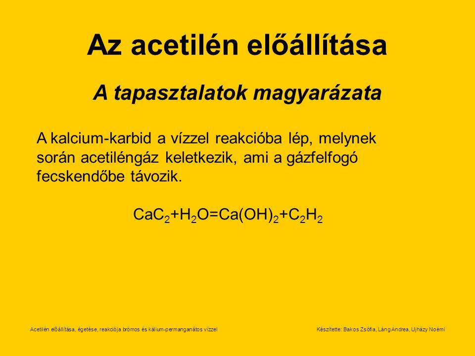 Az acetilén előállítása