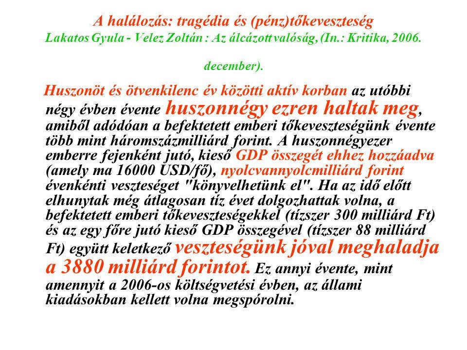 A halálozás: tragédia és (pénz)tőkeveszteség Lakatos Gyula - Velez Zoltán : Az álcázott valóság, (In.: Kritika, 2006. december).