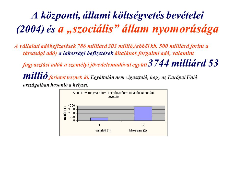 """A központi, állami költségvetés bevételei (2004) és a """"szociális állam nyomorúsága"""