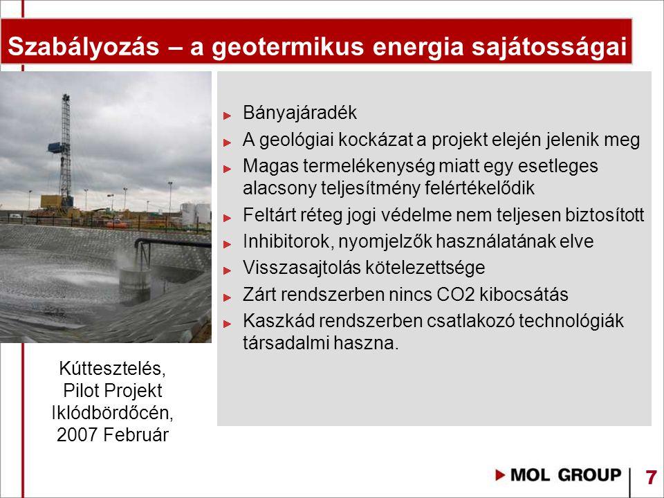 Szabályozás – a geotermikus energia sajátosságai