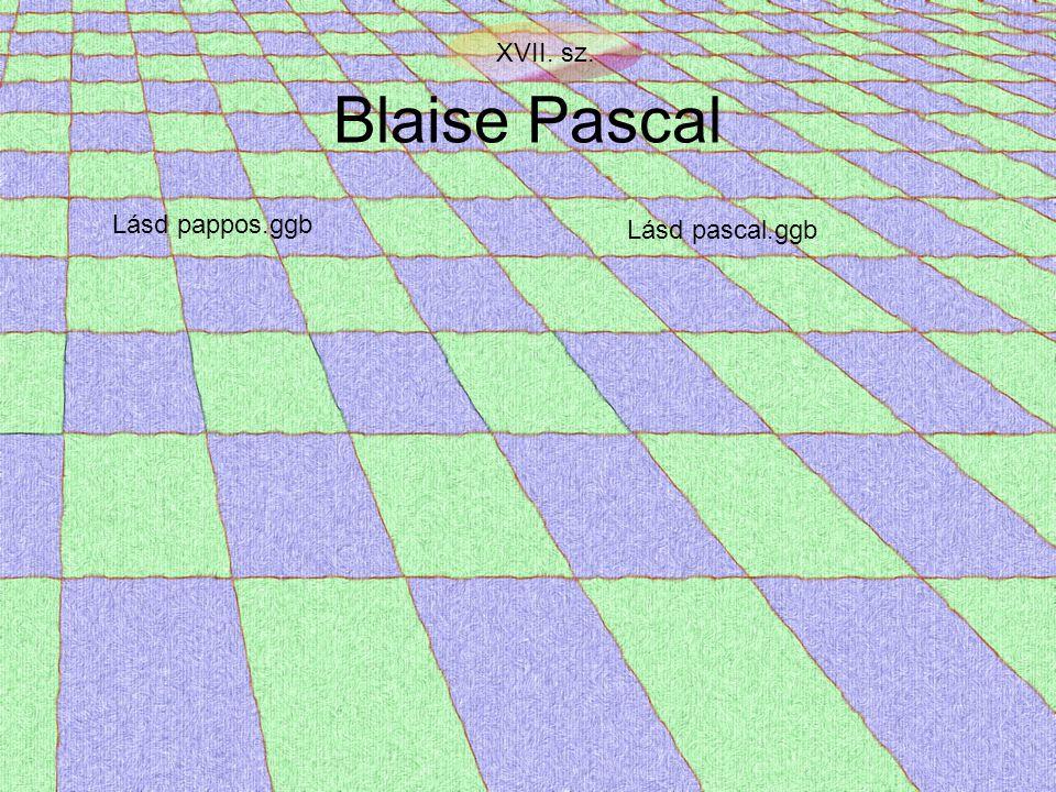 XVII. sz. Blaise Pascal Lásd pappos.ggb Lásd pascal.ggb