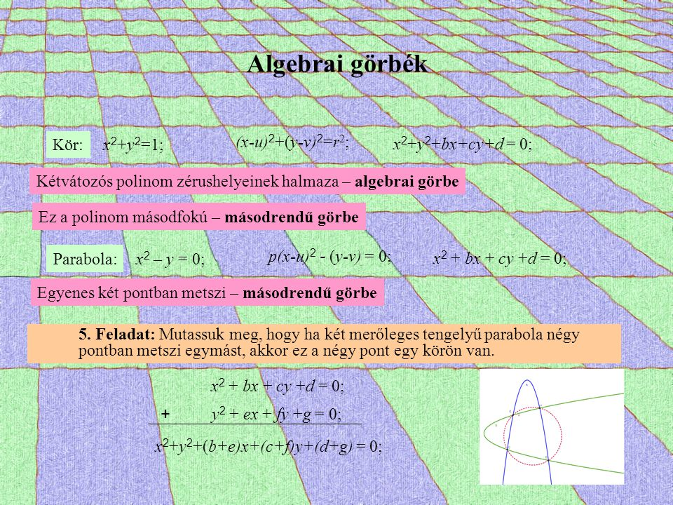 Algebrai görbék Kör: x2+y2=1; (x-u)2+(y-v)2=r2; x2+y2+bx+cy+d = 0;