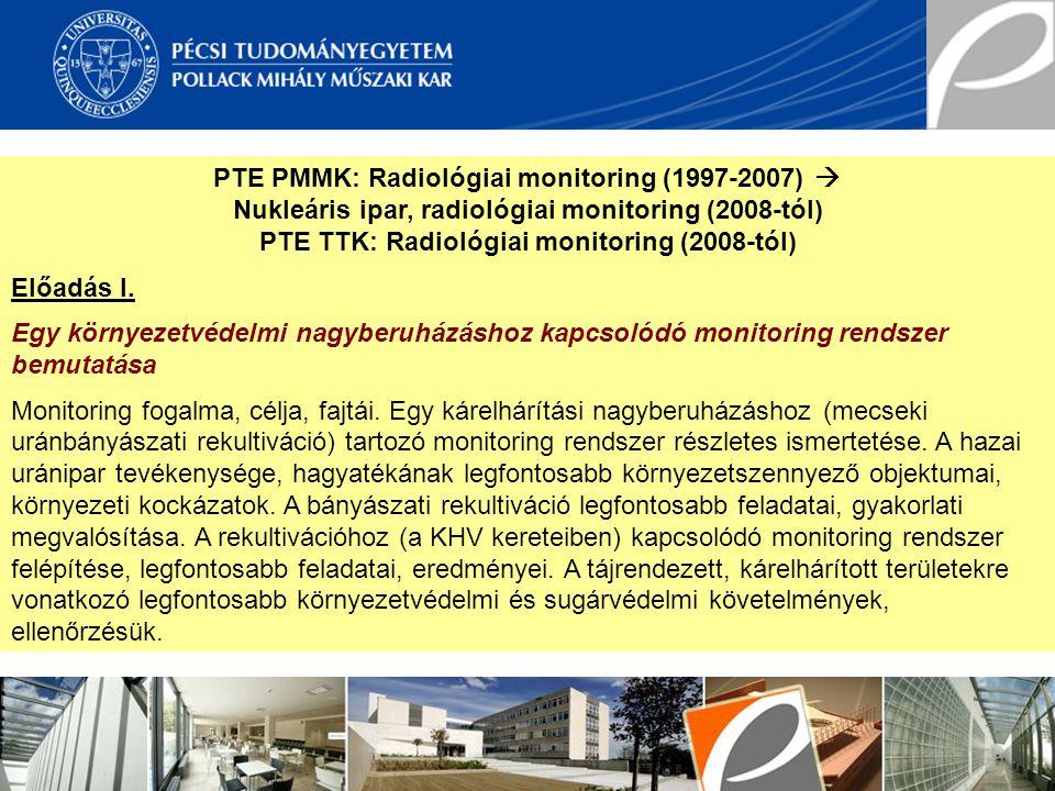 PTE PMMK: Radiológiai monitoring (1997-2007) 