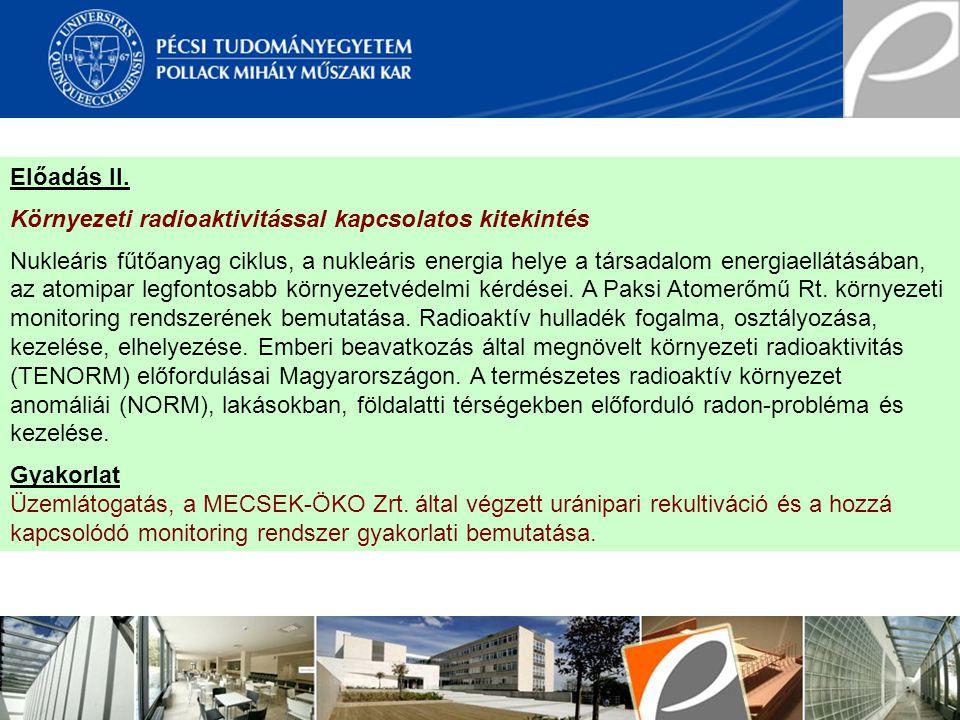 Előadás II. Környezeti radioaktivitással kapcsolatos kitekintés.