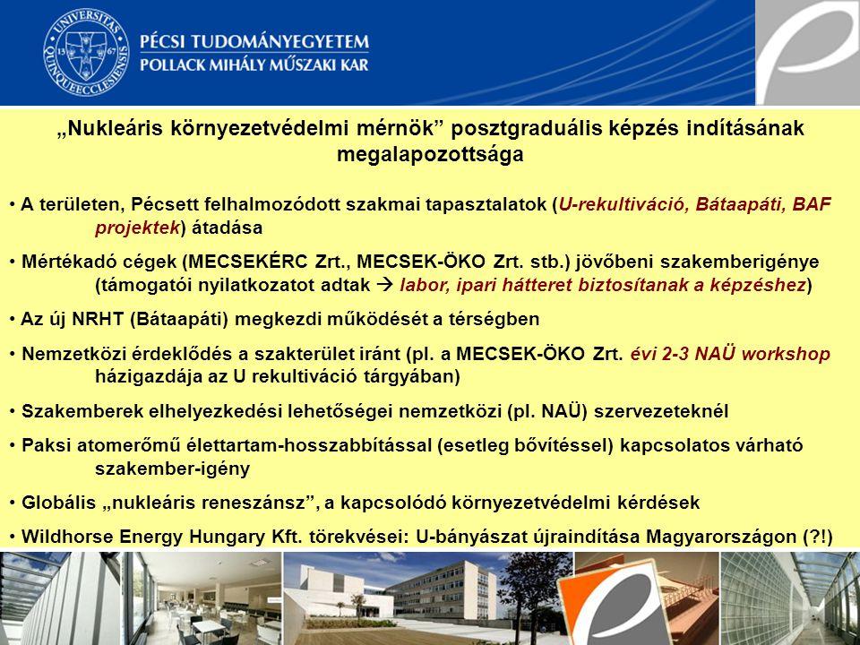 """""""Nukleáris környezetvédelmi mérnök posztgraduális képzés indításának megalapozottsága"""
