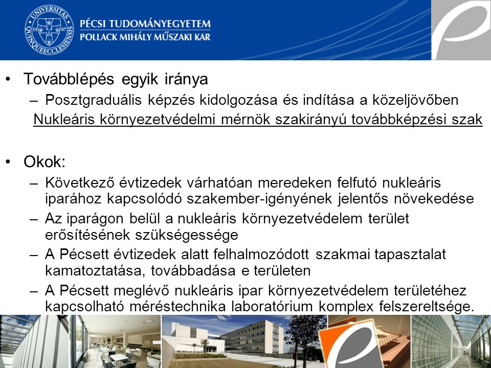 Nukleáris környezetvédelmi mérnök szakirányú továbbképzési szak