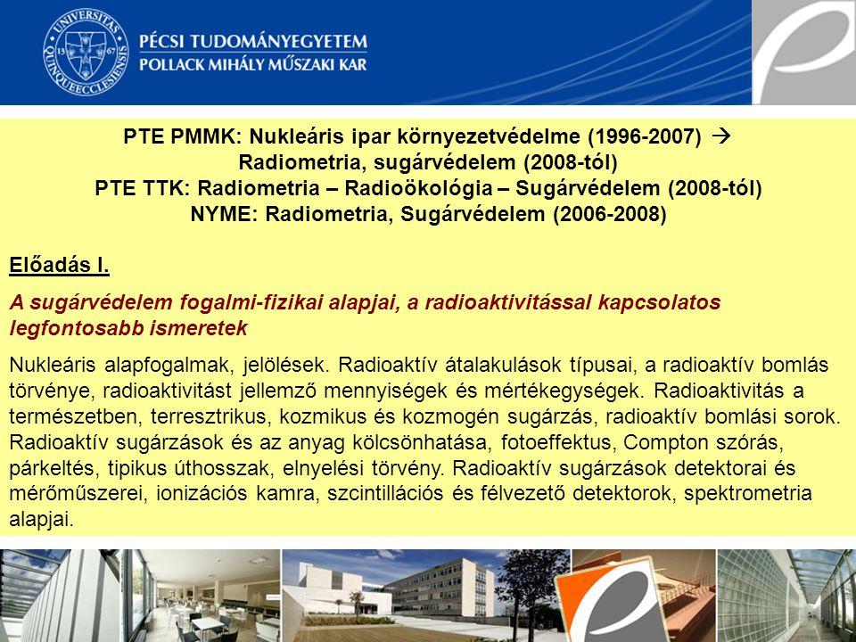 PTE PMMK: Nukleáris ipar környezetvédelme (1996-2007) 
