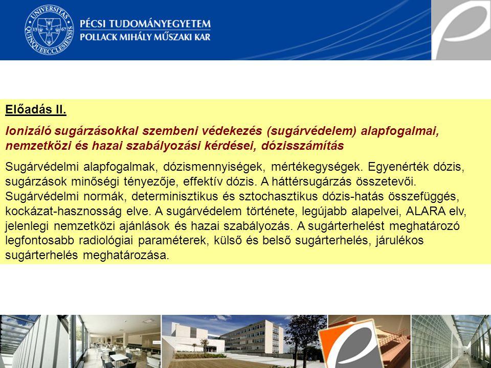 Előadás II. Ionizáló sugárzásokkal szembeni védekezés (sugárvédelem) alapfogalmai, nemzetközi és hazai szabályozási kérdései, dózisszámítás.